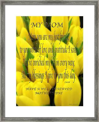 My Mom Card Framed Print by Debra     Vatalaro