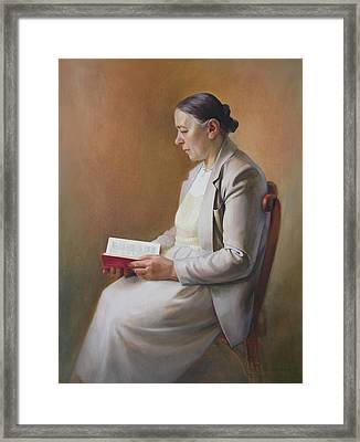 Framed Print featuring the painting My Mother Reading The Bible by Svitozar Nenyuk