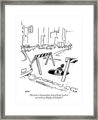 My Name Is Ozymandias Framed Print by George Booth