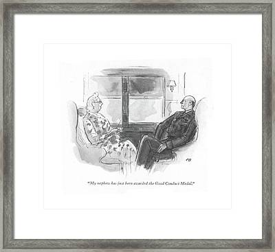 My Nephew Has Just Been Awarded The Good Conduct Framed Print by Perry Barlow