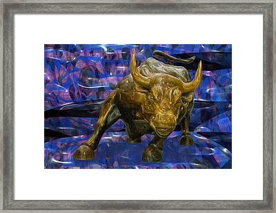My New York City Bull Framed Print by Jack Zulli