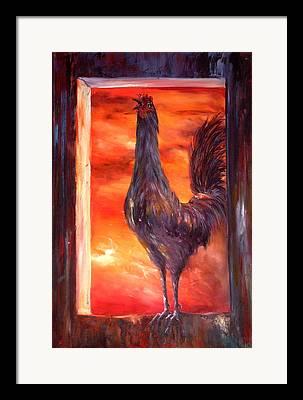 Firey Skies Flock Framed Prints