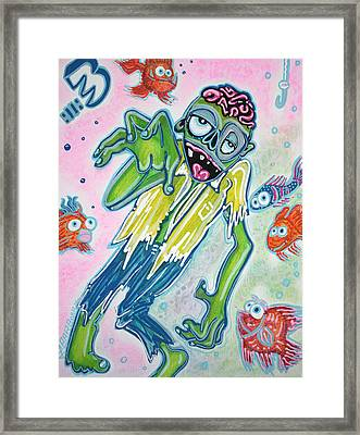 My Pet Zombie #3 / Fish Bait Framed Print by Laura Barbosa