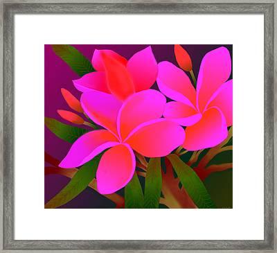 Framed Print featuring the digital art My Pink Plumerias by Latha Gokuldas Panicker    ker