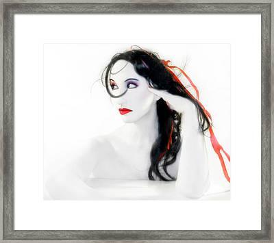 My Red Melancholy - Self Portrait Framed Print by Jaeda DeWalt