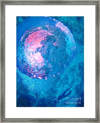 My Reflection In A Divers Bubble Framed Print