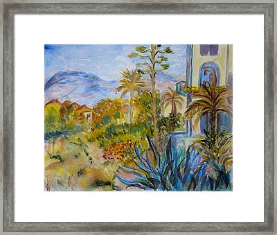 My Rendition Of Villas At Bordighera Framed Print by Donna Walsh