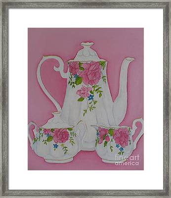 My Royal Doulton  English Rose Teaware Framed Print by Margaret Newcomb