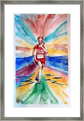 Framed Print featuring the painting My Sarah Running Cross Country by Richard Benson