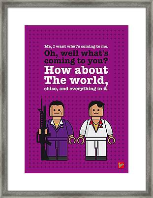My Scarface Lego Dialogue Poster Framed Print by Chungkong Art