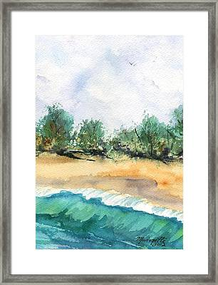 Framed Print featuring the painting My Secret Beach by Marionette Taboniar