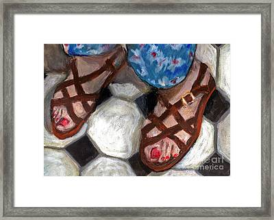 My Sister's Feet Framed Print by Cecily Mitchell