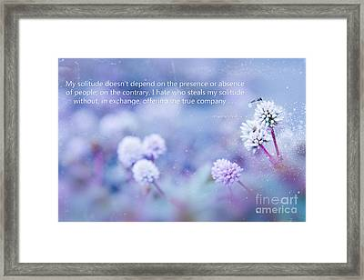 My Solitude Framed Print by Sharon Mau