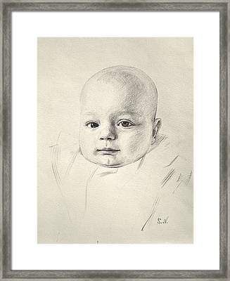Framed Print featuring the drawing My Son Peter 2008 by Svitozar Nenyuk