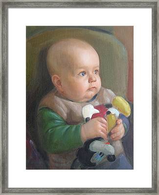 Framed Print featuring the painting My Son by Svitozar Nenyuk