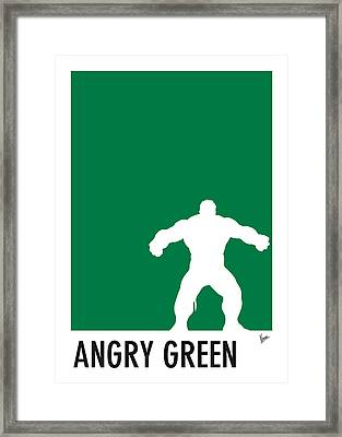 My Superhero 01 Angry Green Minimal Poster Framed Print by Chungkong Art
