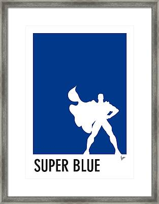 My Superhero 03 Super Blue Minimal Poster Framed Print by Chungkong Art