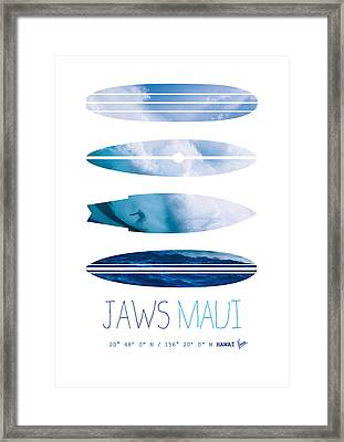 My Surfspots Poster-1-jaws-maui Framed Print