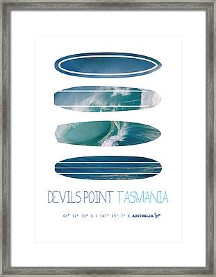 My Surfspots Poster-5-devils-point-tasmania Framed Print