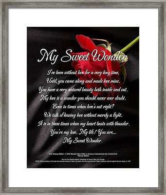 Framed Print featuring the digital art My Sweet Wonder Poetry Art by Stanley Mathis
