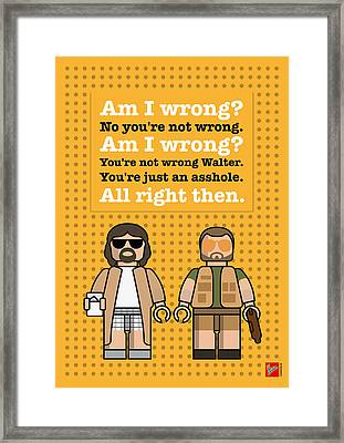 My The Big Lebowski Lego Dialogue Poster Framed Print by Chungkong Art