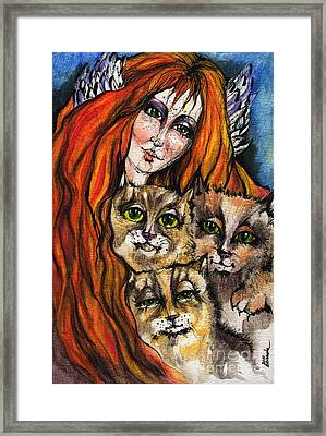 My Three Cats Framed Print by Angel  Tarantella