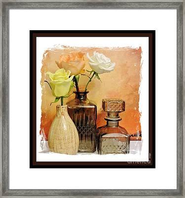 My Three Roses Still Life Framed Print by Marsha Heiken