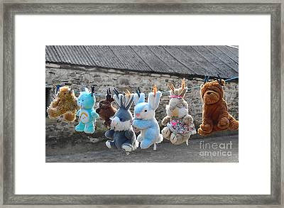 Toys On Washing Line Framed Print by Nina Ficur Feenan