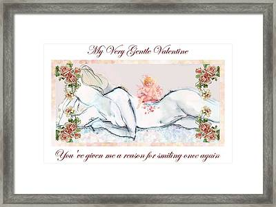 My Very Gentle Valentine - Valentine's Day Card Framed Print by Carolyn Weltman