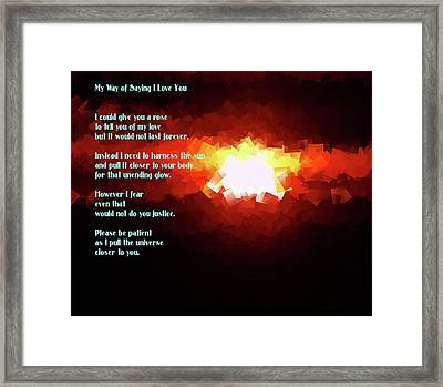 My Way Of Saying I Love You  Framed Print by Jeff Swan