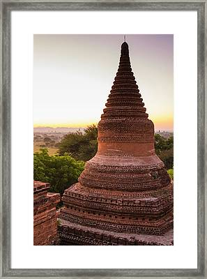 Myanmar Bagan Dawn Over The Plains Framed Print by Inger Hogstrom