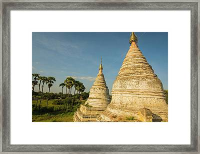 Myanmar Bagan Minochantha Stupa Group Framed Print by Inger Hogstrom