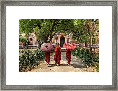 Myanmar, Bagan Novice Monks In Front Framed Print by Jaynes Gallery