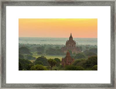 Myanmar Bagan Smoke From Cooking Fires Framed Print by Inger Hogstrom