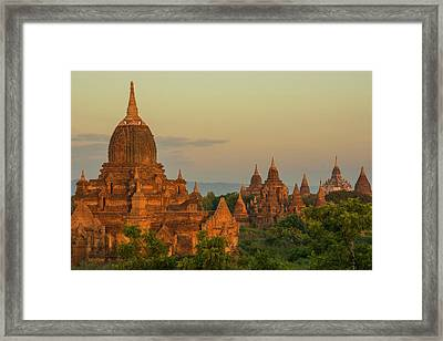 Myanmar Bagan Sunrise Over The Temples Framed Print by Inger Hogstrom