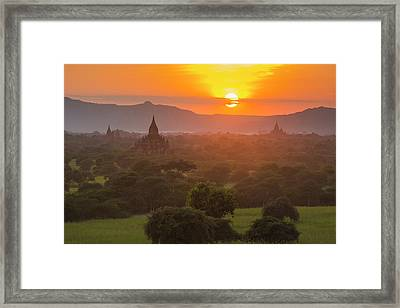Myanmar Bagan Temples Of Bagan At Sunset Framed Print by Inger Hogstrom