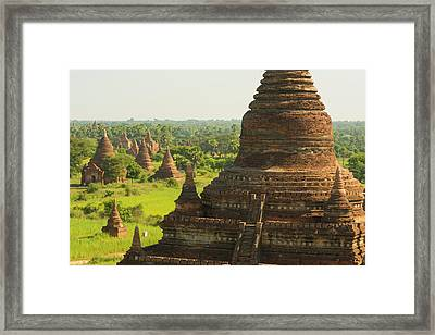 Myanmar Bagan The Plain Of Bagan Framed Print by Inger Hogstrom