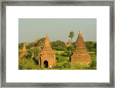 Myanmar Bagan View Of The Temples Framed Print by Inger Hogstrom