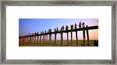 Myanmar, Mandalay, U Bein Bridge Framed Print