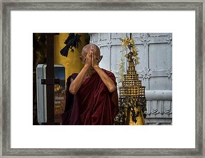 Myanmar Monk Prays Framed Print by David Longstreath