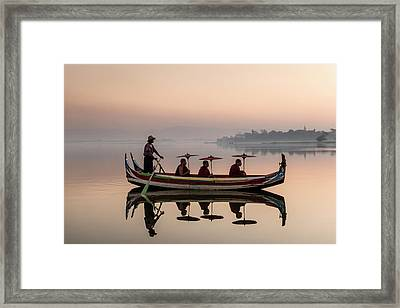 Myanmar, Monks In Boat At Ubein Bridge Framed Print by Martin Puddy