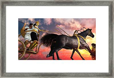Mycenaean Assault With Rail Chariot Framed Print by Leone M Jennarelli