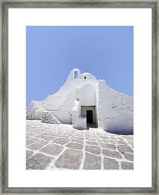 Mykonian Church Framed Print by Hakon Soreide