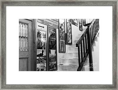 Mykonos Art On The Stairs Mono Framed Print