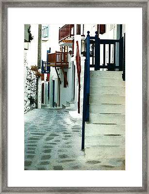 Mykonos Charm Framed Print by Jacqueline M Lewis