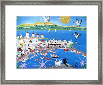 Mykonos, Greece, 2012 Acrylic On Canvas Framed Print by Herbert Hofer
