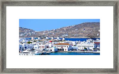Mykonos Port Framed Print by Corinne Rhode