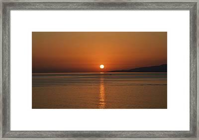 Mykonos Sunset Framed Print by Corinne Rhode