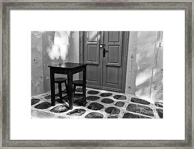 Mykonos Table And Chairs Mono Framed Print by John Rizzuto
