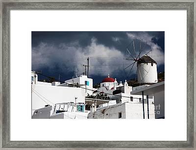 Mykonos Windmill On The Hill Framed Print by John Rizzuto
